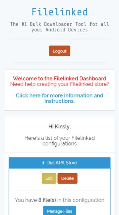 filelinked dashboard