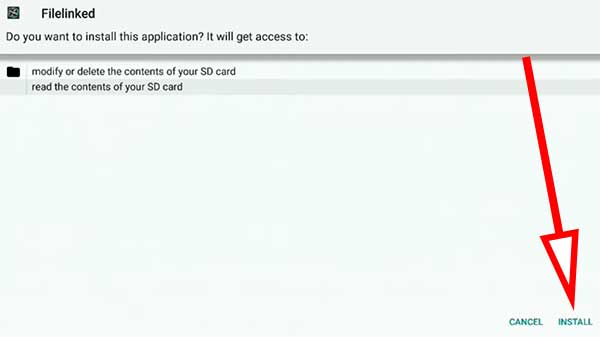 Click install to begin filelinked installation