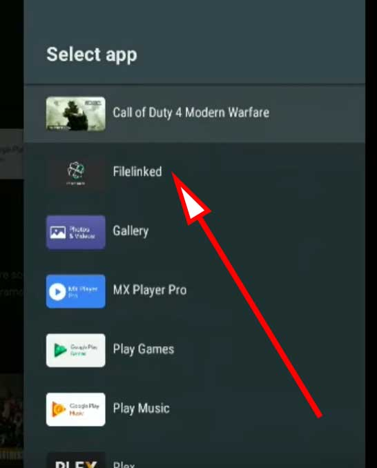 Select filelinked app from select app list