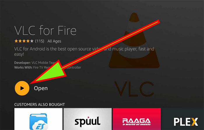 Open VLC media Player fire tv stick