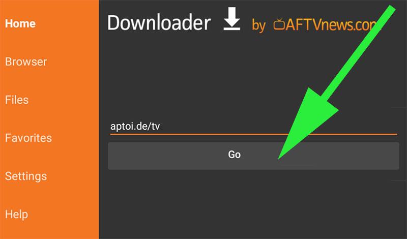 Downloading Aptoide TV using Downloader